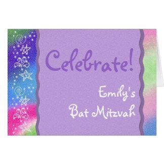 Colorful Bat Mitzvah invitation Greeting Card