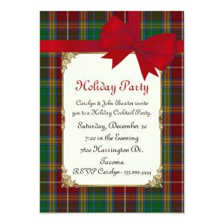 Colorful Baxter Tartan Plaid Custom Holiday Party Card