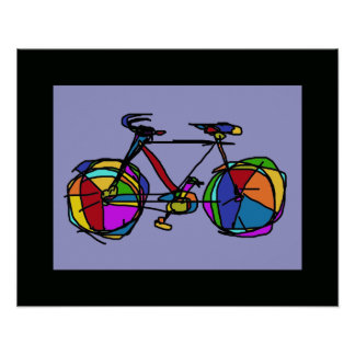 colorful bicycle art wall decor poster