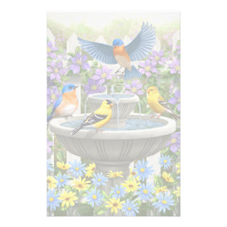 Colorful Birds and Bird Bath Flower Garden Stationery