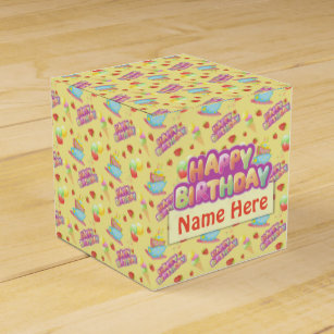 Happy Birthday Cake Favour Boxes Zazzle Co Nz
