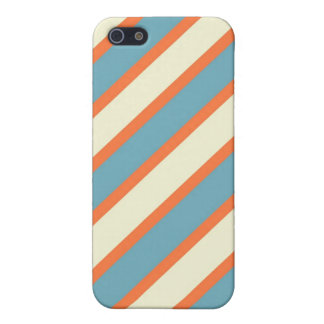 Colorful Blue and Orange Diagonal Stripes Pattern iPhone 5/5S Case