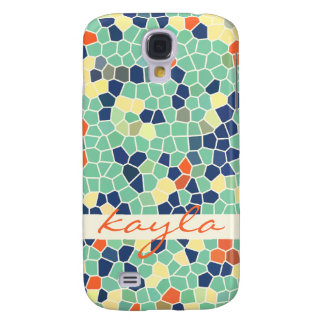 Colorful Blue Green Orange Abstract Funky Mosaic Galaxy S4 Case