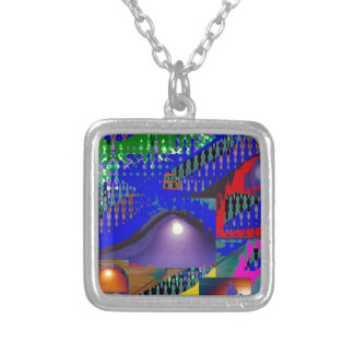 Colorful Blue Purple Moon shine night gifts Square Pendant Necklace