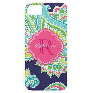 Colorful Bohemian Paisley Custom Monogram Barely There iPhone 5 Case