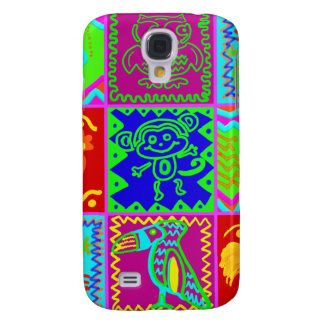 Colorful Bold Funky Animals Patchwork Pattern Galaxy S4 Case