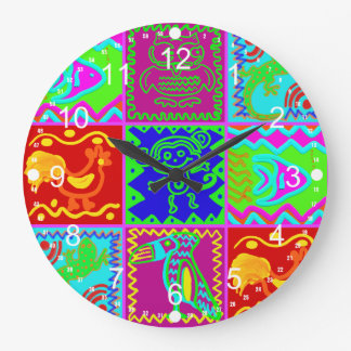 Colorful Bold Funky Animals Patchwork Pattern Large Clock