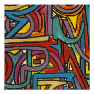 Colorful Bold Geometric Abstract Modern Art Poster