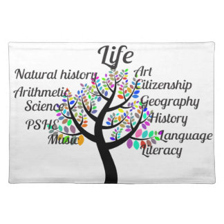 Colorful Branches of Life and Education Placemats