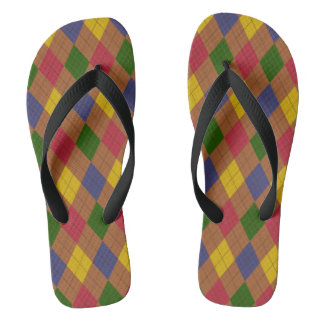 Colorful Brown Argyle Jandals