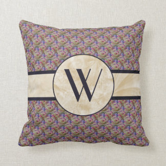 Colorful Bubble Pattern, Monogrammed Cushion