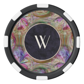 Colorful Bubble Pattern, Monogrammed Poker Chips