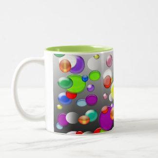 Colorful bubbles illustration coffee mub Two-Tone coffee mug