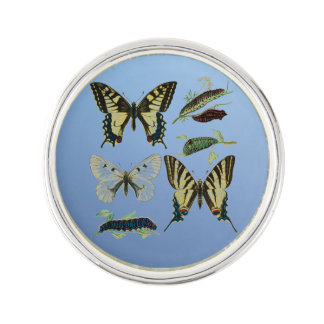 Colorful Butterflies and Caterpillars Lapel Pin