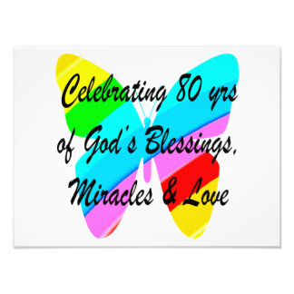 COLORFUL BUTTERFLY 80TH BIRTHDAY ART PHOTO