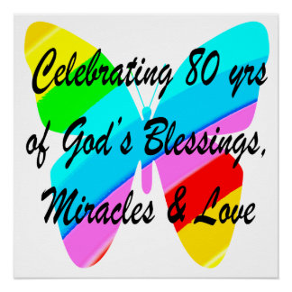 COLORFUL BUTTERFLY 80TH BIRTHDAY POSTER