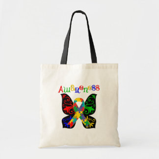 Colorful Butterfly Autism Awareness Tote Bags
