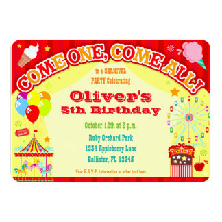 Colorful Carnival - Custom Birthday Invitations