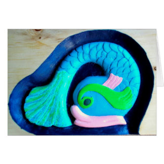 Colorful carved fish greeting cards