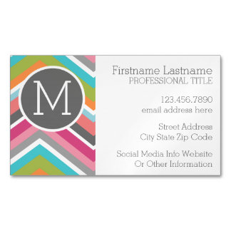 Colorful Chevron Pattern with Custom Monogram Magnetic Business Card