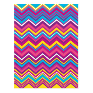 Colorful Chevron Zig Zag Pattern Postcard