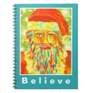 """Colorful Claus"" Santa Art Custom Notebook"