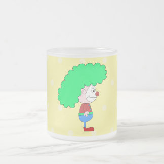 Colorful Clown Cartoon. Frosted Glass Mug