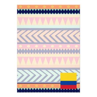Colorful Colombia Flag Box 13 Cm X 18 Cm Invitation Card