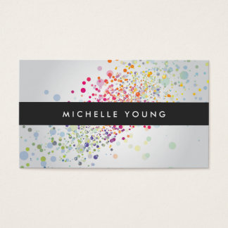 Colorful Confetti Bokeh on Gray Modern Business Card
