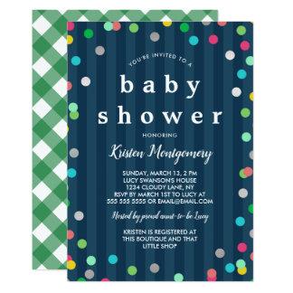 Colorful Confetti  - Dark Blue Baby Shower Card