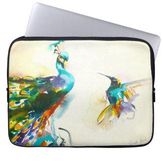 """Colorful Conversation"" Hummingbird & Peacock Computer Sleeve"