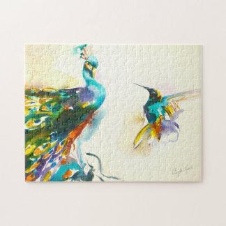 """Colorful Conversation"" Hummingbird & Peacock Jigsaw Puzzle"