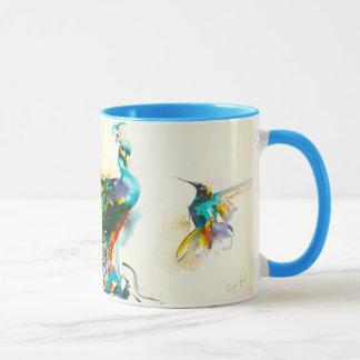"""Colorful Conversation"" Hummingbird & Peacock Mug"