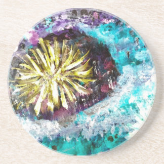Colorful Coral Reef Sea Urchin Beverage Coasters