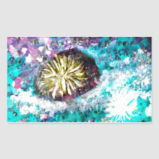 Colorful Coral Reef Sea Urchin Rectangular Sticker