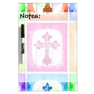 Colorful Crosses Christian Pop Art Collage Dry Erase Whiteboards
