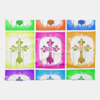 Colorful Crosses Christian Pop Art Tea Towel