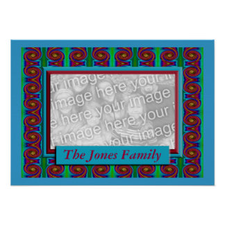 Colorful curls photo frame poster