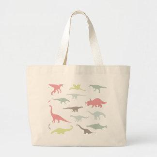 Colorful cute dinosauruses large tote bag