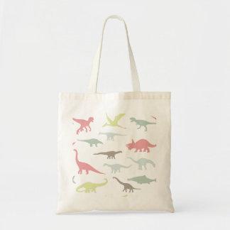 Colorful cute dinosauruses tote bag
