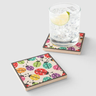 Colorful Cute Lady Bug Seamless Pattern Stone Coaster