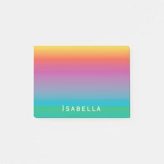 Colorful Cute Rainbow Gradient Ombre Monogram Post-it Notes