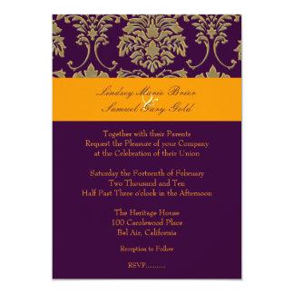 Colorful Damask/plum/orange/lavender 13 Cm X 18 Cm Invitation Card