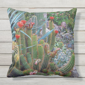 Colorful Desert Botanical Garden Outdoor Pillow. Cushion