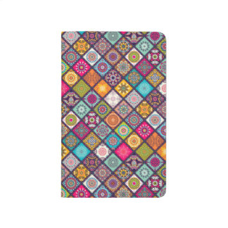 Colorful diamond tiled mandalas floral pattern journals
