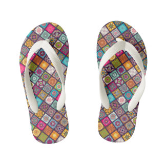 Colorful diamond tiled mandalas floral pattern thongs
