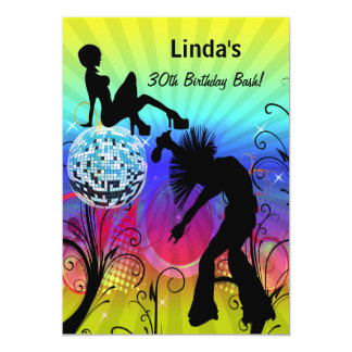 colorful disco retro  party Invitation