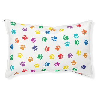 Colorful dog paws dog bed for a happy dog