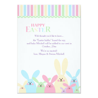 Colorful Easter Bunnies Pregnancy Announcement