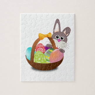 Colorful Easter Bunny And Eggs Jigsaw Puzzle